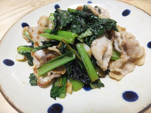 有機野菜「大地宅配」お試しセットで作った料理。小松菜と豚ロース
