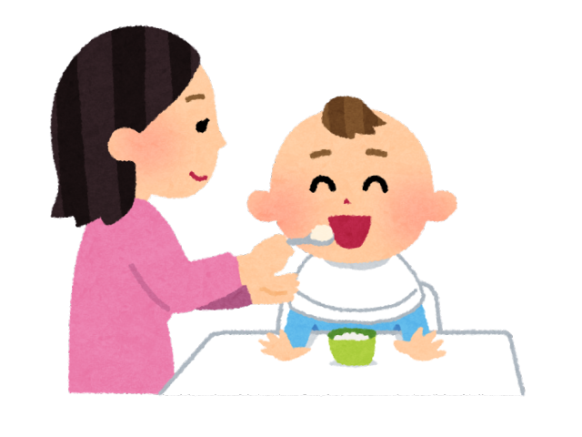 子供が親にご飯を食べさせてもらっている様子